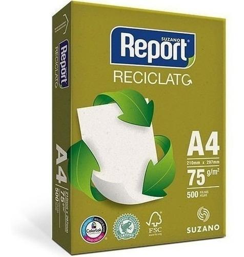 Imagen 1 de 1 de Papel Report Reciclato A4 75 Grs 500 Hjs