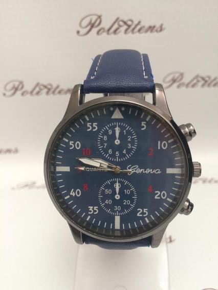 Relógio Masculino Luxo De Pulso Couro Analógico Azul P3111