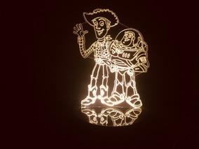 Luminária Led 3d Toy Story Xerife Woody E Buzz Lightyear