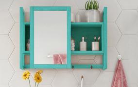 Espelheira Gabinete Com Espelho Para Banheiro Azul Aquiles