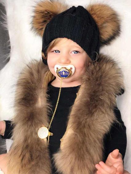 Chupeta Dourada Cromada Luxo Bebê.