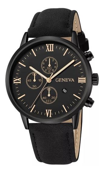 Relógio Luxo Masculino Geneva Pulseira De Couro