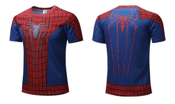 Playera Deportiva Spiderman El Hombre Araña Para Gym Lycra