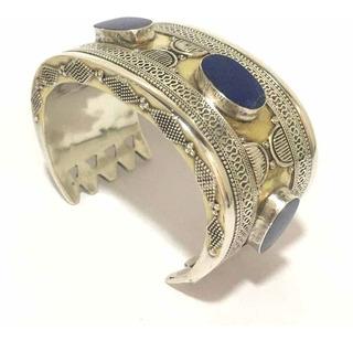 Pulseira Antiga Prata De Lei Com Lapis Lazuli Detalhes Ouro