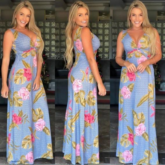 Vestido Longo Estampado Cruzado Roupa Feminia Cd0v