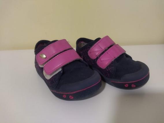 Tenis Klin Infantil Menina Azul E Rosa Nº 21