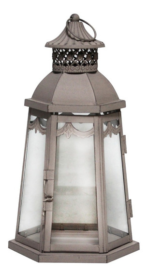 Lanterna Decorativa Marroquina - 33cm - Cinza