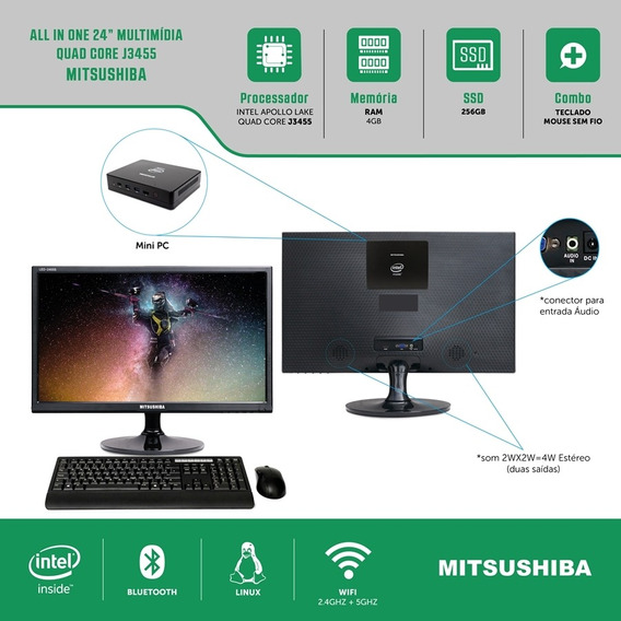 All In One 24 Celeron Quad Core J3455 4g Ssd256g Linux