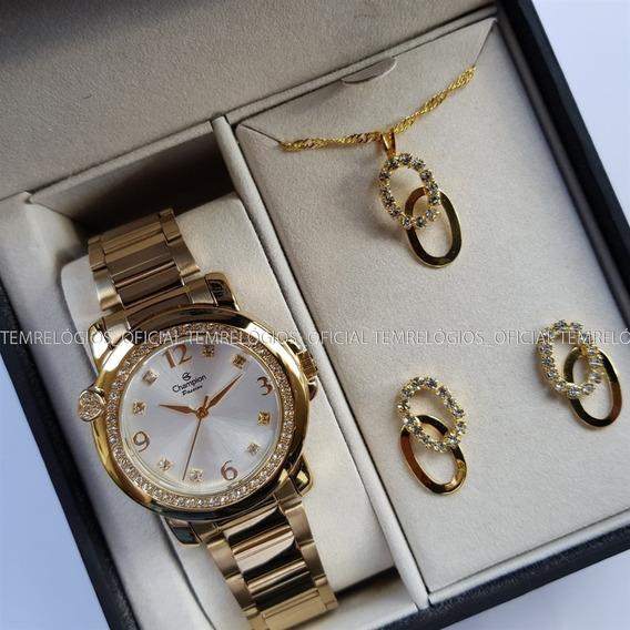 Relógio Feminino Champion Ch24535w Kit Semijoia