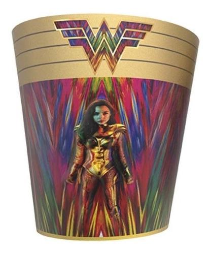 Pochoclera Lata Cónica Cine Con Relieve Wonder Woman