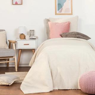 Funda Para Acolchado Twin Size Lino Lisa - Color Natural