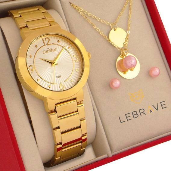 Relógio Feminino Dourado Condor Com Colar E Brincos Original