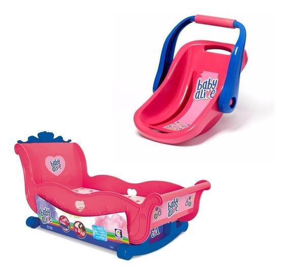 Berço Baby Alive + Bebê Conforto Hasbro Cotiplas Menina Bebe
