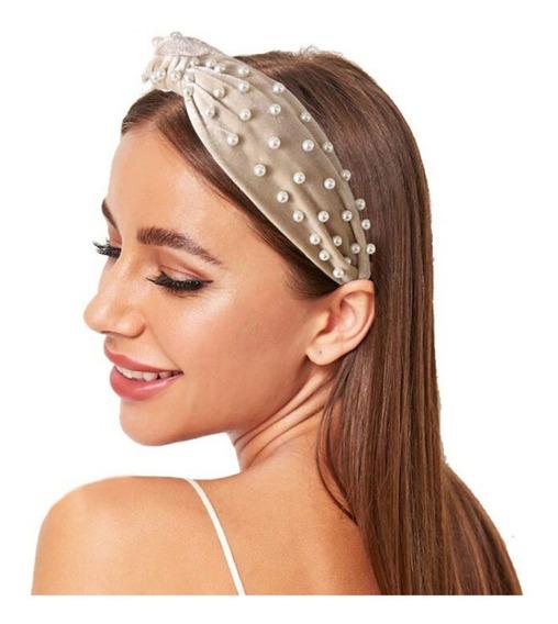 Diadema Con Perlas Tipo Turbante Para Mujer Terciopelo