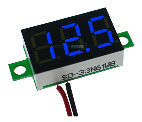 15pçs Mini Voltímetro Dig 2fios Led Azul 3v-30v-0,36-cod.99