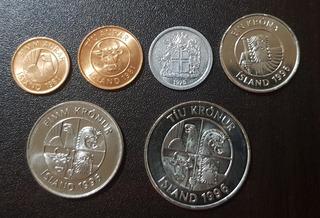 Monedas Islandia 5 10 Aurar 1 1 5 10 Krona 1978-1996 Unc