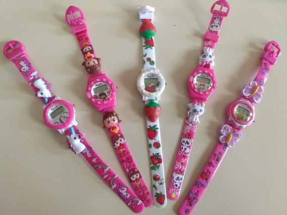 Mini Relógio Infantil P/meninas A Prova D Água Kit C/5 Unids
