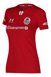 Jersey Under Armour Futbol Toluca Local Fan 19/20 Mujer Rojo