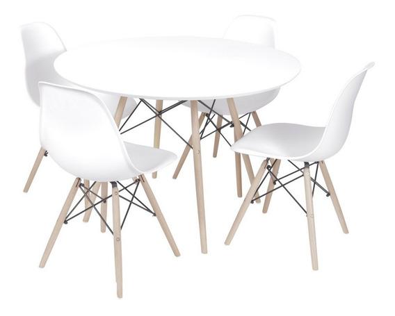 Conjunto Mesa E 4 Cadeiras Eames Branca