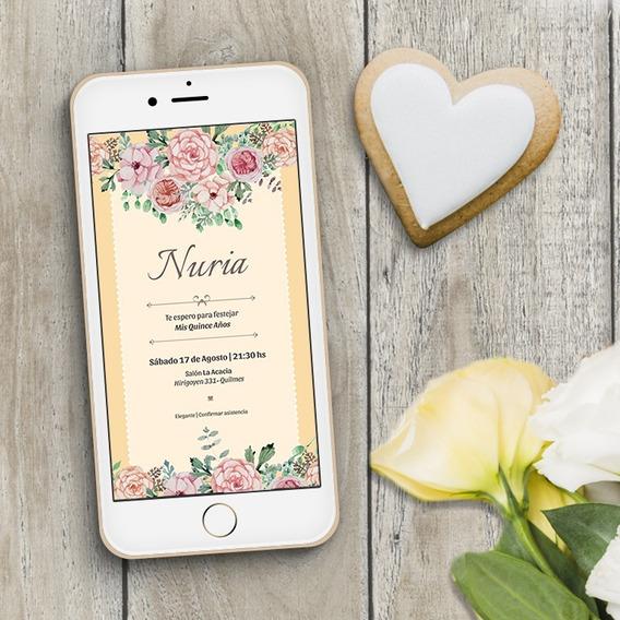 Invitacion Tarjeta Digital Boda Casamiento 15 Años Fiesta