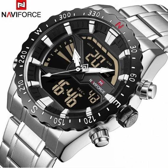 Relógio Masculino Naviforce Prata Esporte Casual Original
