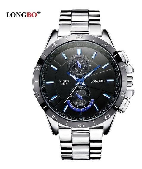 Relógio Masculino Longbo De Luxo Elegant Aço Inox