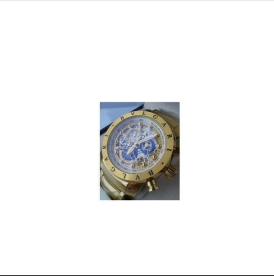 Relógio BvLG Skeleton Dourado Original