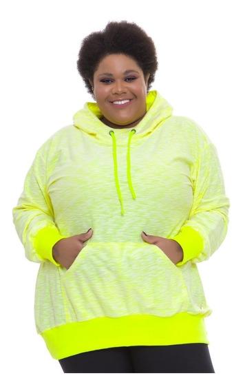 Blusão Moletinho Plus Size Wonder Size Amarelo Neon