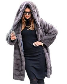 4f563c126 Aox Mujer Abrigo De Invierno Gris De Piel Sintetica Espesar