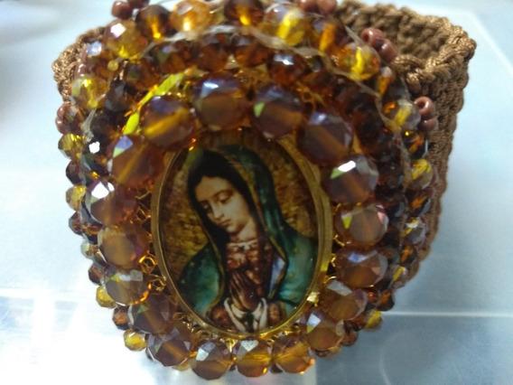 Brazalete Artesanal Tejido Medalla Bordada Virgen Guadalupe