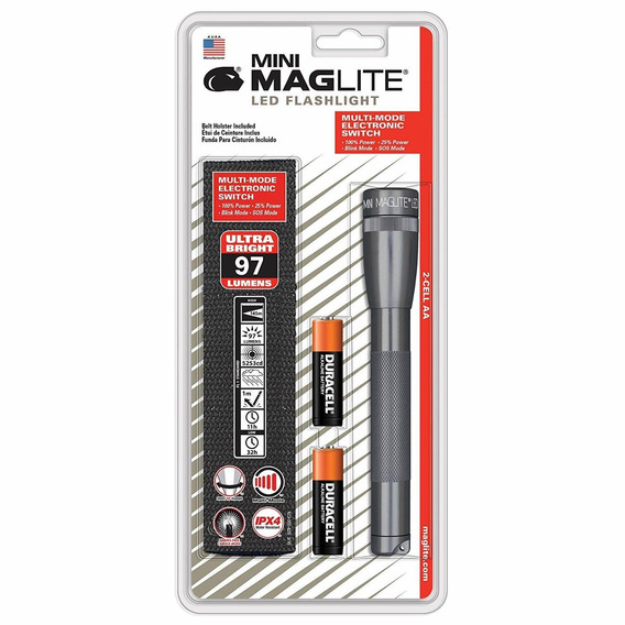 Maglite Mini Led 2-cell Aa Flashlight With Holster, Gray