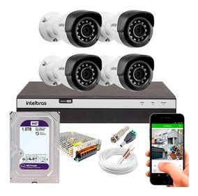 Kit Cftv 4 Câmeras Segurança Full Hd 1080p 1220 Dvr 3104 1tb