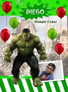 Tarjeta De Invitacion De Cumpleaños De Hulk En Mercado Libre