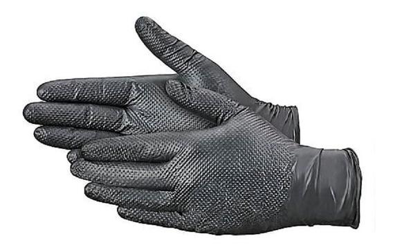 50 Guante Nitrilo Negro Texturizado Desechable Uso Rudo