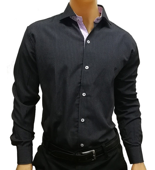 Camisa Di Varezzi Slim Fit Rayas Con Combinaciones Elegante