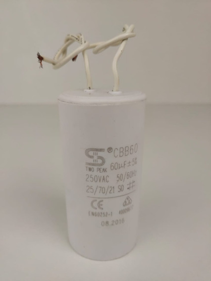 Capacitor Permanente 60uf 250vac 50/60hz Two Peak Cbb60 2 Fios