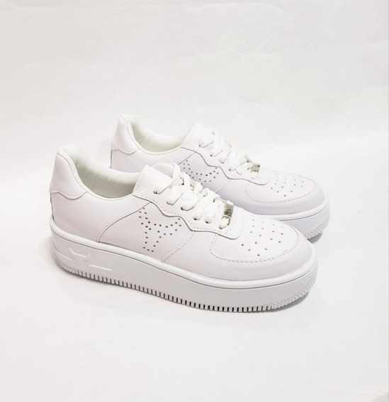 Zapatillas Estilo Air Force Blancas Talle 35 Al 40
