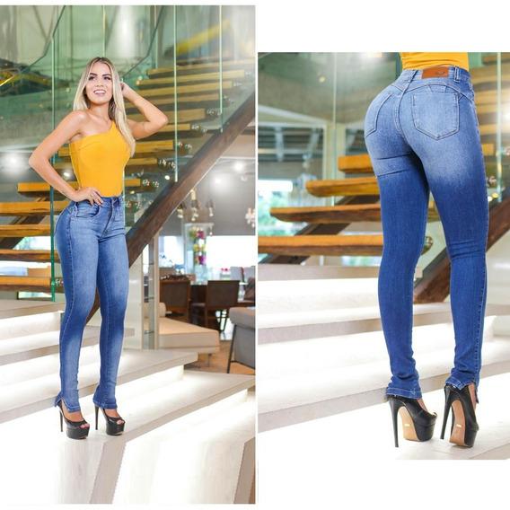 Calça Jeans Feminina Cos Alto Hot Pants Com Lycra E Elastano