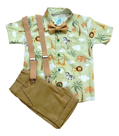 Conjunto Roupa De Festa Aniversário Infantil Menino Camisa Safari Verde Bermuda Social Caqui Gravata Suspensório