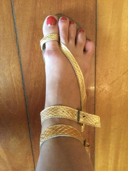 Sandália Dourada Tipo Gladiadora Rasteira C&a 37