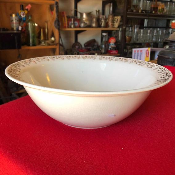 Antiguo Bowl Ensaladera De Loza Hastfort Dorado