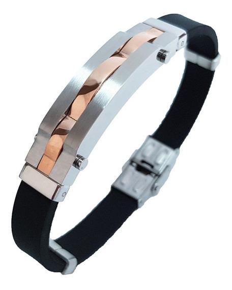 Bracelete Pulseira Masculina Aço Silicone Banhada Ouro Rosê