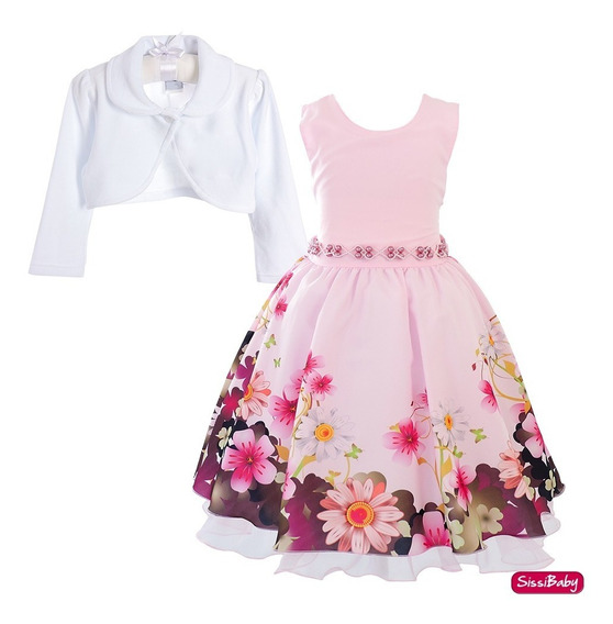 Vestido Festa Infantil Floral Bolero Carinha Anjo Super Luxo