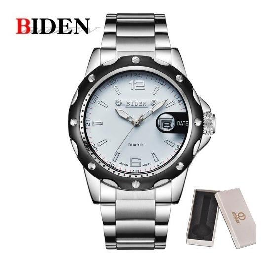 Relógio Branco De Pulso Masculino Analógico Quartzo Biden