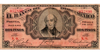 Antiguo Billete 2 Pesos Banco Del Estado De Mexico 1914