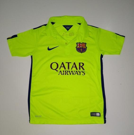 Camiseta Barcelona Nike Original Amarillo Fluo Niño Talle S