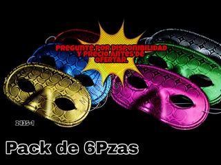 Antifaz Plástico Metalizado, Hora Loca, 15años Empaque De 6