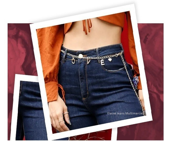 Calça Consciencia Jeans Mom Cinto Dourado Cintura Alta
