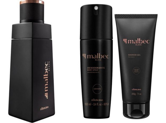 Kit Malbec Black Boticário: Colônia, Body Spray E Shower Gel