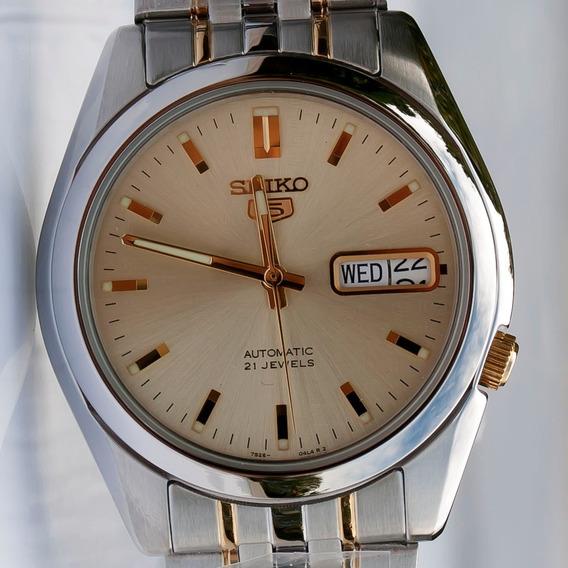Relógio Seiko 5 Automatico 21 Jóias Two Tone Snk365k1